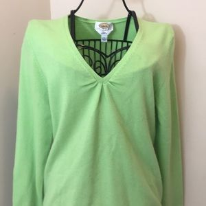 Talbots Lime Green Cashmere V-Neck Sweater Size LP